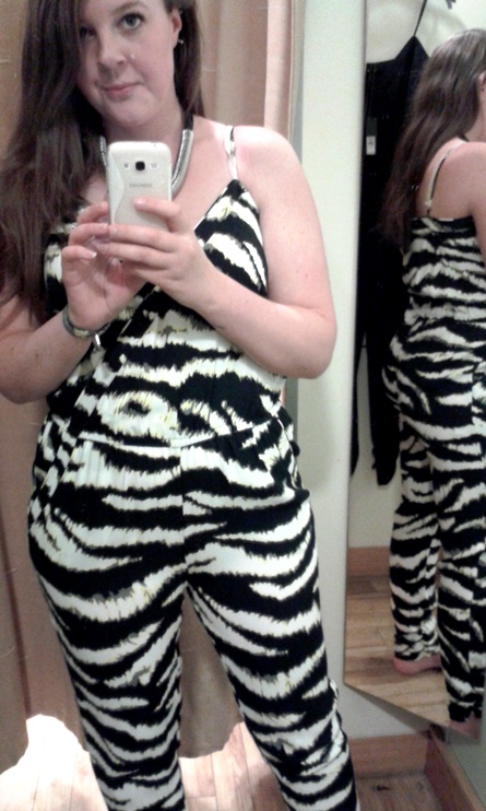 Black Zebra jumpsuit River Island
