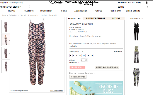 Miss Selfridge Aztec Jumpsuit
