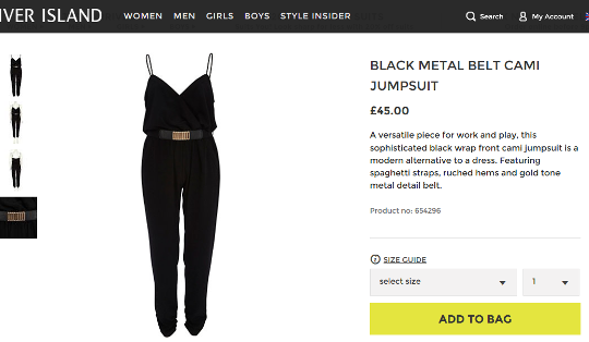 Black Jumpsuit River Island