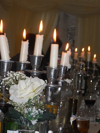 Candles lined all along the tables