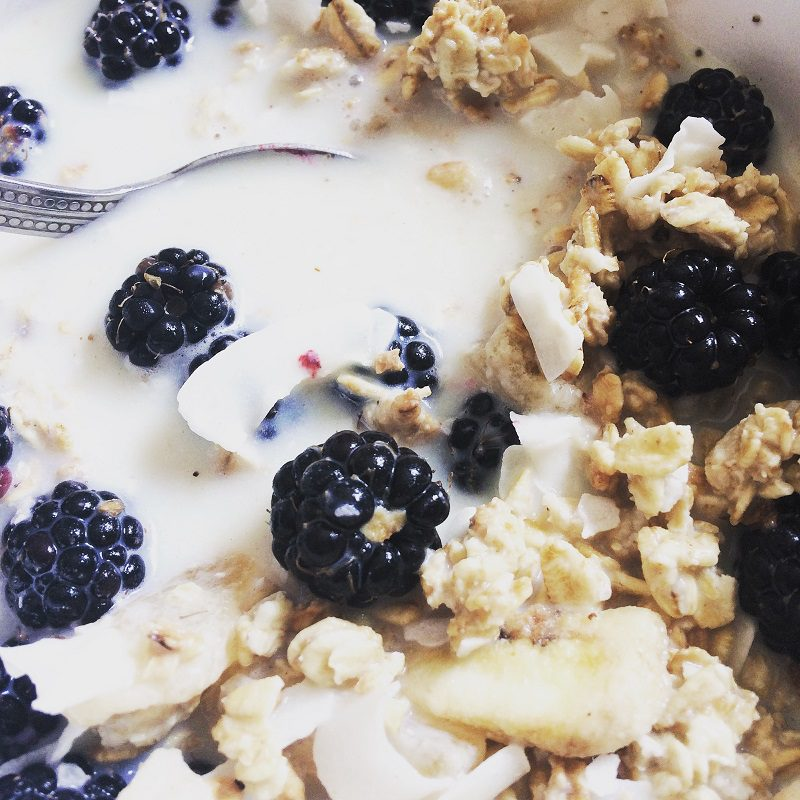 blackberries on granola